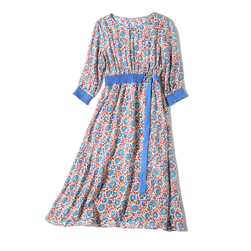 Silk Dress Women 2019 Spring Summer New Round Neck Fresh Floral Printed Elastic Waist Hit Color Belt Slim A Line Casual Dress in Dresses from Women 39 s Clothing