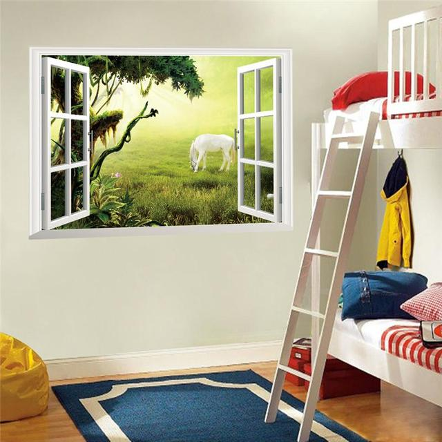 White horse tree 3d windows wall stickers room decorations 040 diy animals home decals print