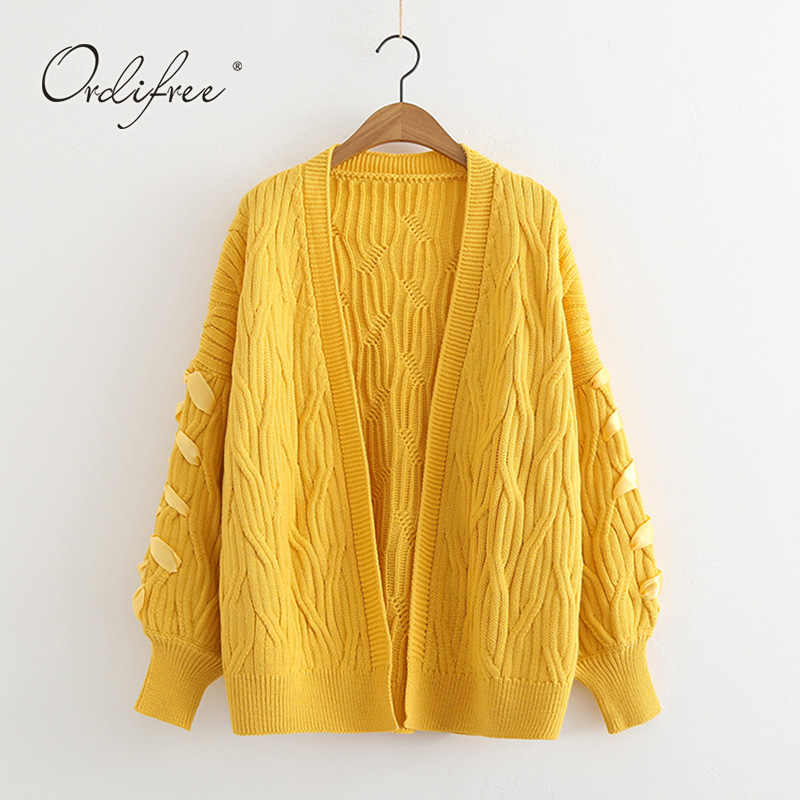 93bbd62f0e9d50 Detail Feedback Questions about Ordifree 2018 Autumn Winter Women Knitted  Cardigan Lace Up Casual Solid Yellow Female Sweater Cardigan Pull Femme on  ...