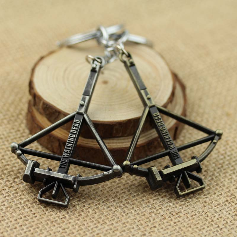 Hot movie The Walking Dead keychain metal Crossbow pendant keyring The Walking Dead Cudgel And Letter keychain