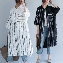 Большие размеры 4XL, летняя женская Европейская мода, полосатые топы, женские, большие, длинные, хлопковые, льняные, свободные блузки, рубашки, блузы