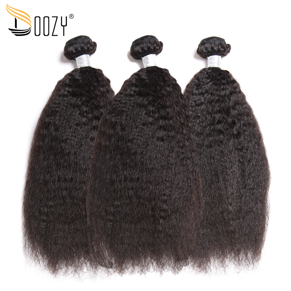Doozy Kinky Straight Peruvian Hair Weave 3 Bundles Natural Color Remy Human Hair