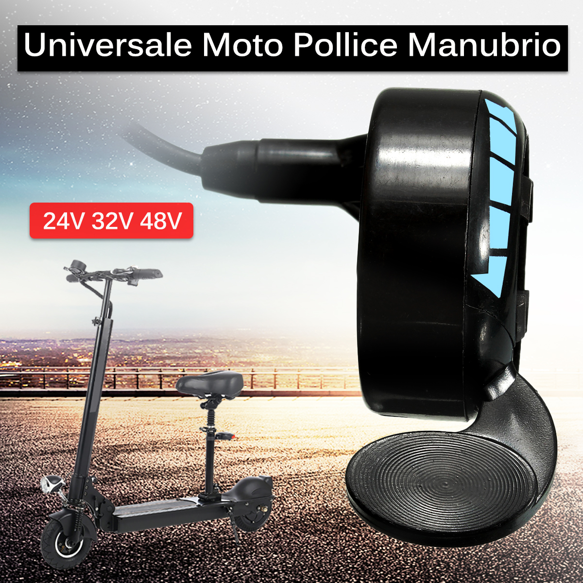 Universal Motorcycle 7/8inch Handlebar Black Metal Thumb Throttle E-Bike Electric Bike Scooter 24v 36v 48v цена