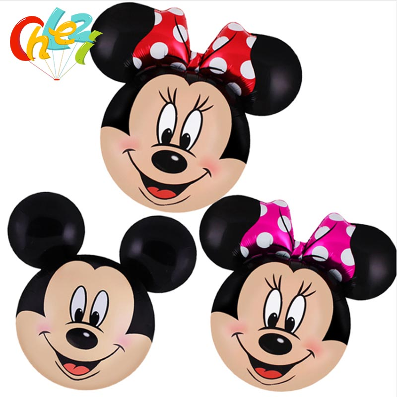 50 pcs 70 65CM Mickey Minnie Mouse Head Foil Balloons happy Birthday Wedding Party Decoration supplies