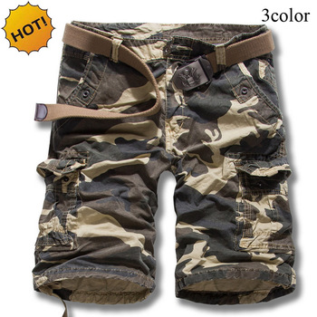 TOP Quality Summer Loose Military Cotton Straight Camouflage Cargo capri Men Khaki Mens Combat Overalls Short Trousers Cuff