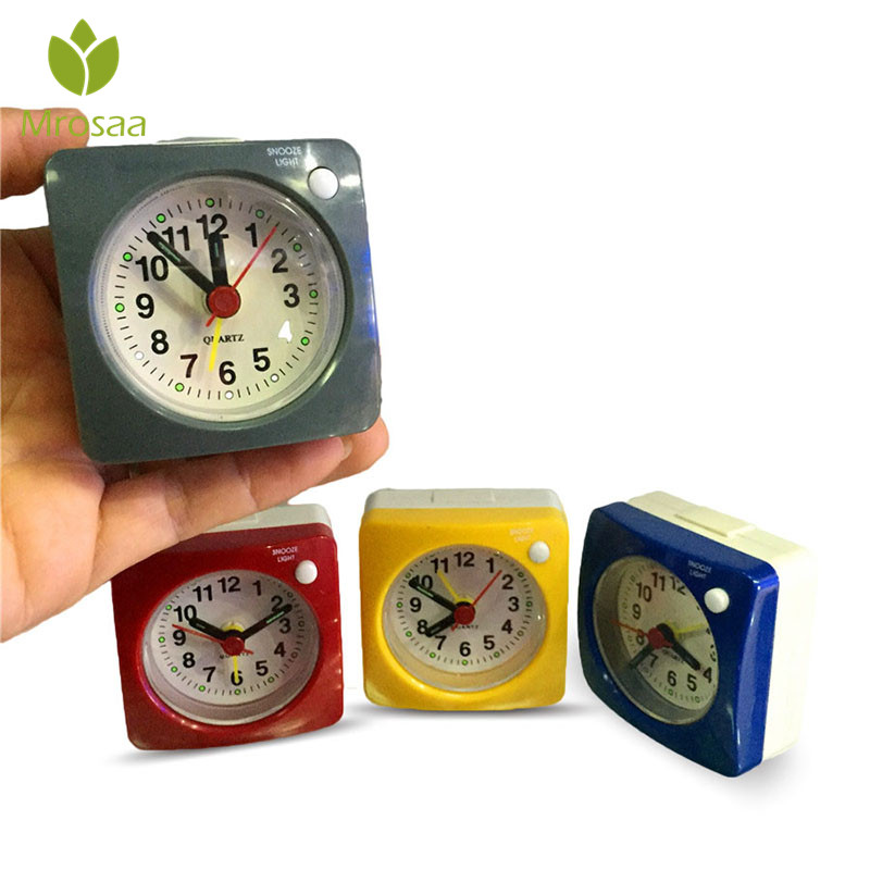 Selfless Mrosaa New Ultra Small Travel Alarm Clock Beeper Alarm Silent Sweep With Nightlight And Snooze Portable Table Desktop Clocks Commodities Are Available Without Restriction Clocks Alarm Clocks