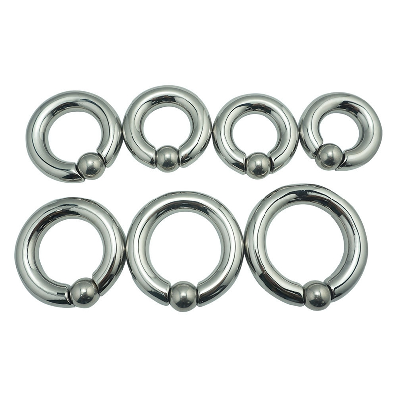 цена на 7 Size Choose Scrotum Pendant Stainless Steel Ball Stretcher Metal Cock Ring Sex Toy For Men Scrotum Restraint Traning Ring