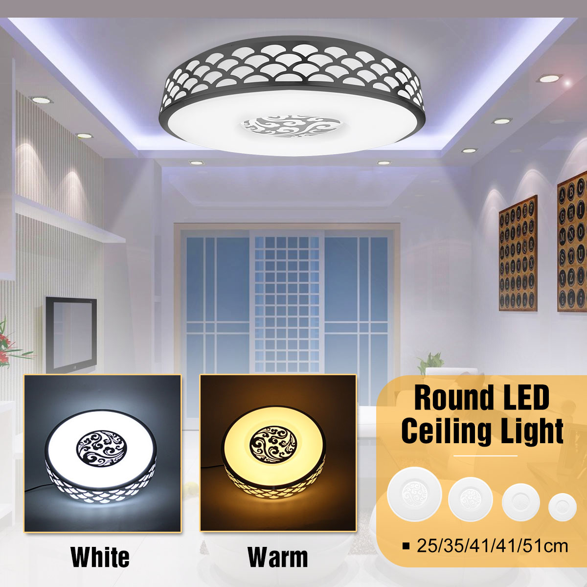 12/15/18/23/36W Warm/White Light Flush Mount Round LED Ceiling Lights Modern Acrylic Ceiling Lamps for Living Room Fixtures12/15/18/23/36W Warm/White Light Flush Mount Round LED Ceiling Lights Modern Acrylic Ceiling Lamps for Living Room Fixtures