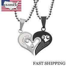f7987597b2a6 US STOCK Uloveido negro corazón amor COLLAR COLGANTE para pareja hombres  Acero inoxidable cadena coreano moda par colgante de su.