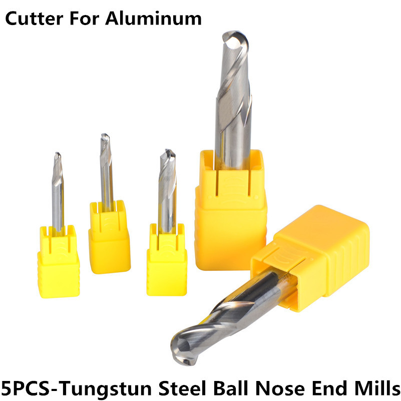 Tungsten Steel End Mills Ball Nose Head Milling Cutters 5pcs/lot 2-Flute R1.5,R2.0,R3.0,R6.0 Milling Cutter Tools Router bits