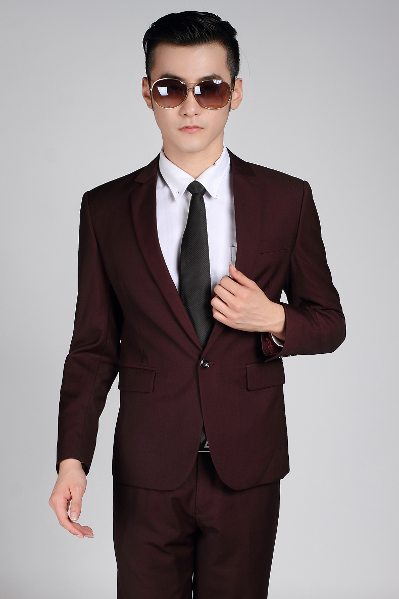 486fa38c71 (Chaqueta + Pantalones) marca de moda boda novio partido vino rojo traje  formal hombres Trajes set slim fit traje de boda 2015 hombre en Trajes de  La ropa ...