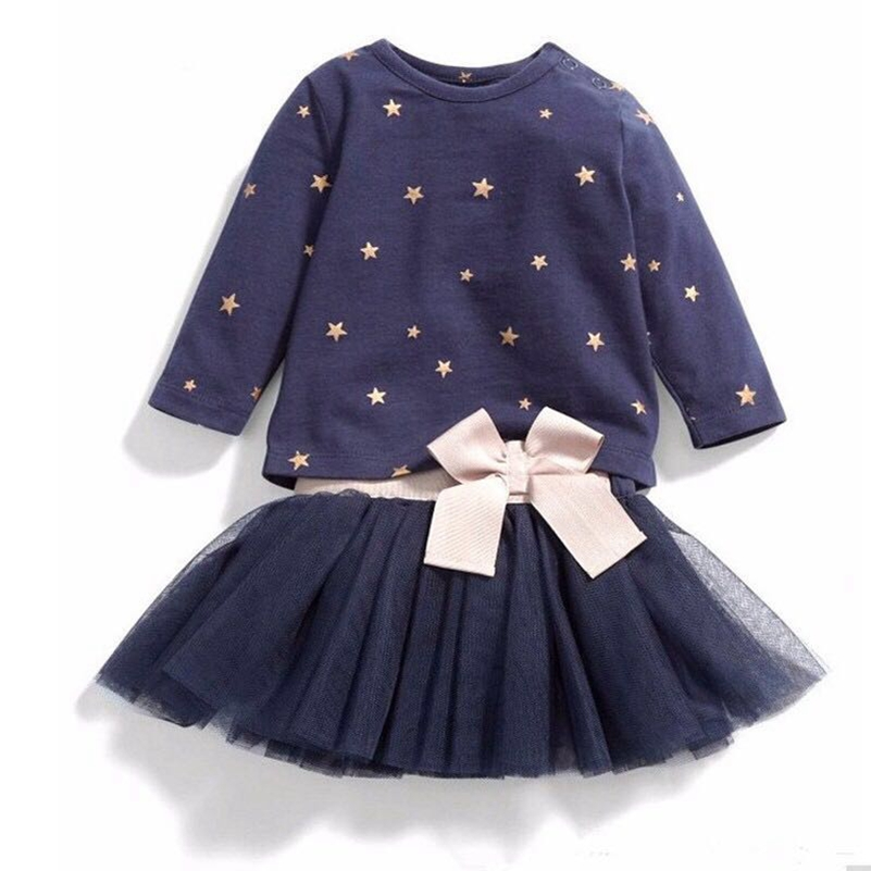 Baby Girls Dresses Autumn 2019 New Brand Kids Long Sleeve Clothes Back Bow Suit Cute Clothes Print Dot Children Ball Gown Dress