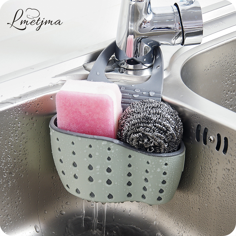 LMETJMA Useful Suction Cup Sink Shelf Soap Sponge Drain Rack Kitchen Sucker Storage Tool HMBI120802