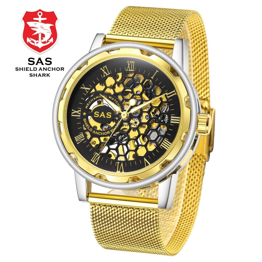 Men Brand Wristwatches Luxury Hand-wind Stainless Steel Watch 30M Water Resistant 3D Honeycomb Design Hollow Watches SHARK -#804