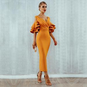 Image 3 - Женское платье с рукавом бабочкой, элегантное платье средней длины с открытыми плечами и V образным вырезом, лето 2020