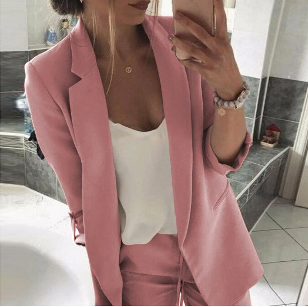 Womail 2019 New Fashion Women Casual Solid Work Office Coat Turn Down Collar Blazer Open Front Blazers JL12 Mujeres Rompevientos