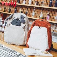 Cute Animal Women Backpack Canvas Kawaii Shar Pei Akita Dog Pet School Bag Female Cartoon Rucksack