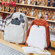 Cute Animal Women Backpack Canvas Kawaii Shar Pei Akita Dog Pet School Bag Female Cartoon Rucksack Teenage Girl Children Plecak