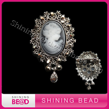 2016 Fashion Jewelry Antique Gold /Silver Plating Vintage  Rhinestone  Cameo Female Brooch /Pins  For Women Christmas Gift