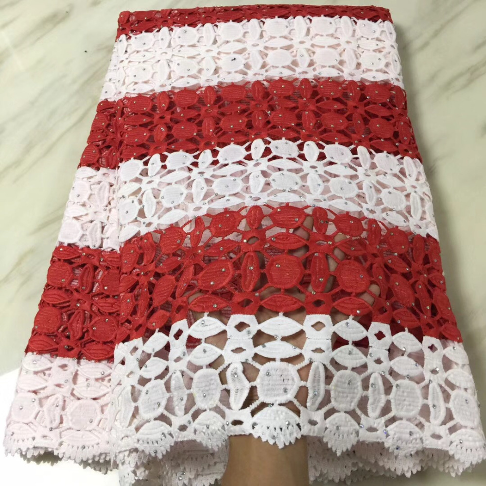 Red White Milk Silk High Quality Stones African Print Water Soluble Lace Guipure Cord Lace Fabric For Women Dress Party 5yd/lotRed White Milk Silk High Quality Stones African Print Water Soluble Lace Guipure Cord Lace Fabric For Women Dress Party 5yd/lot