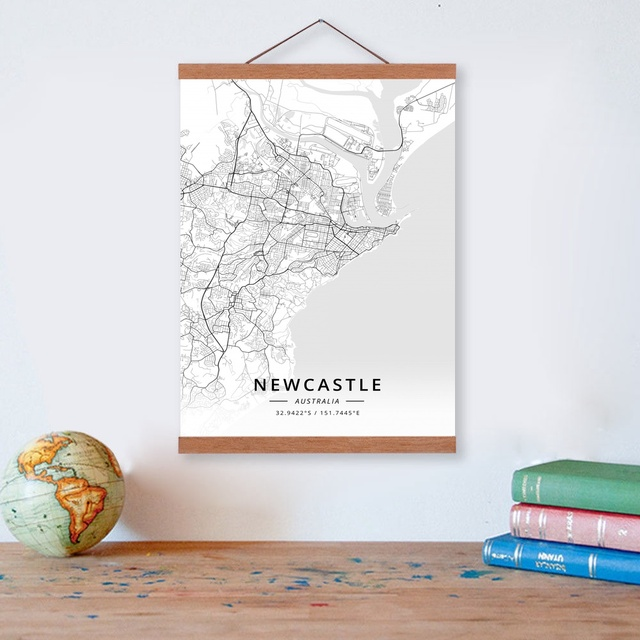 Us 12 02 32 Off Newcastle Australia City Map Wooden Framed Canvas Painting Home Decor Wall Art Print Pictures Poster Hanger In Painting