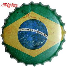 [Mike86] Brazil Flag Tutup Botol Dinding Lukisan Vintage Logam Plak Pub Pesta Rumah Tin Sign Bar Decor 35 CM AG-663(China)
