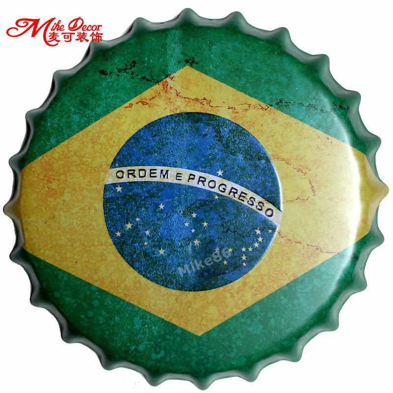 [Mike86] brasil Bandeira Tampa De Garrafa Pintura de Parede Plaque Pub Festa Em Casa Bar Sinal Da Lata Do Metal Do Vintage Decoração 35 CM AG-663