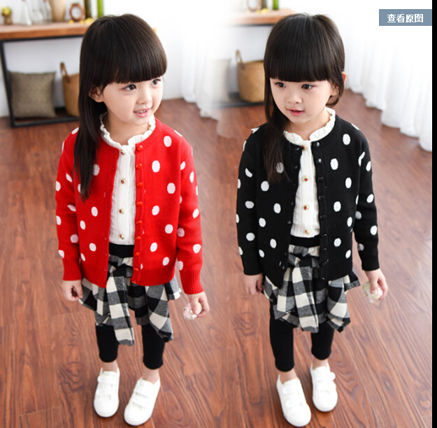 Free shipping New han edition leisure wave point knitted children's baby cardigan jackets children's clothes