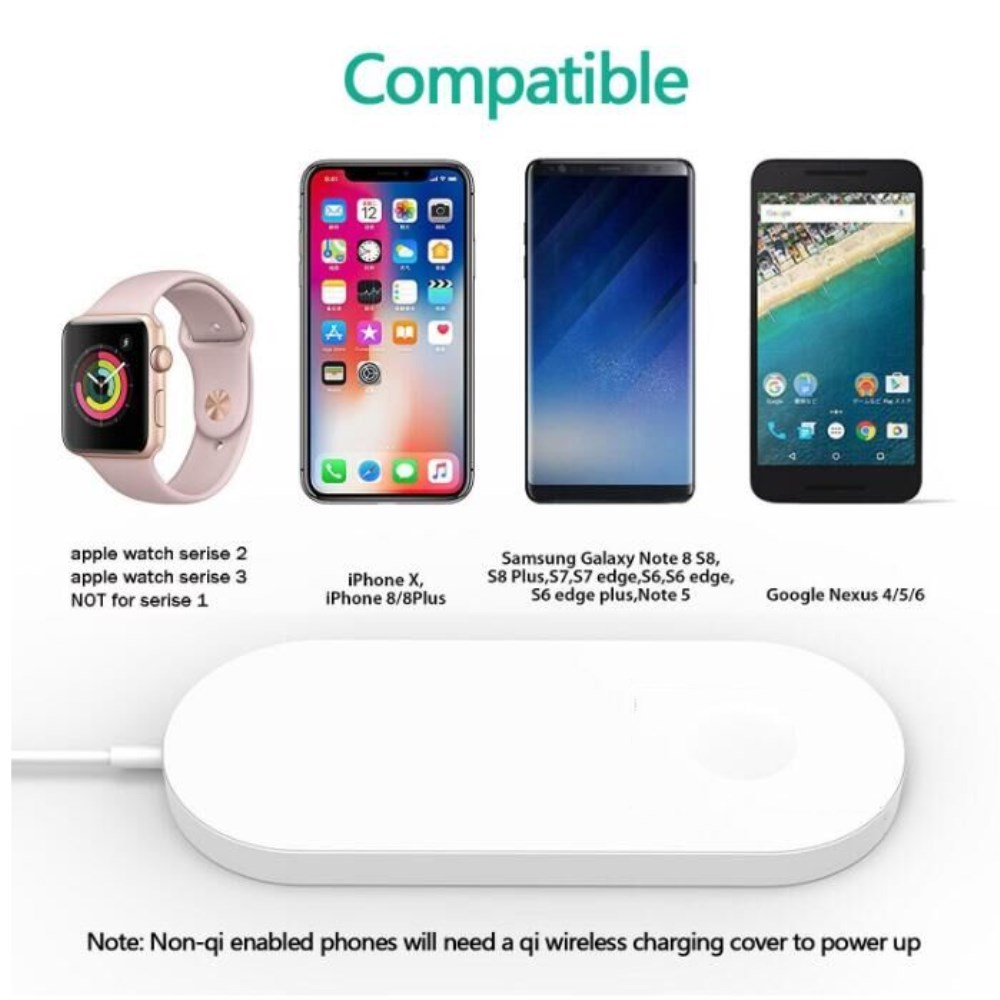 pretty nice 7b737 78bf3 696 2IN1 Airpower Wireless Charger For iPhone X 8 Wireless Charging Pad For  Apple watch Fast Charge for Samsang galaxy S9 S8