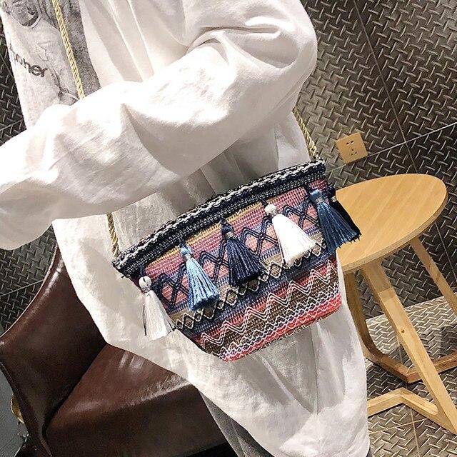Women Bag Fashion Tassel Wild Personality Shoulder Bag Messenger Bag Canvas Handbags Female Shoulder Bag Messenger Purse#y4