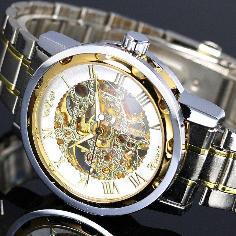 2016 New WINNER Gold Uhren Luxus Marke Herrenmode Automatische Höhlen Heraus Mann Mechanische Uhren Waches relogio masculino