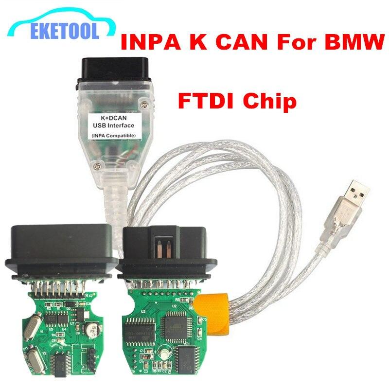 Professionnel FT232RL FT232RQ Pour BMW INPA K + CAN Ediabas Lecteur de Code OBD2 interface usb INPA K + DCAN Pour BMW série Livraison Gratuite