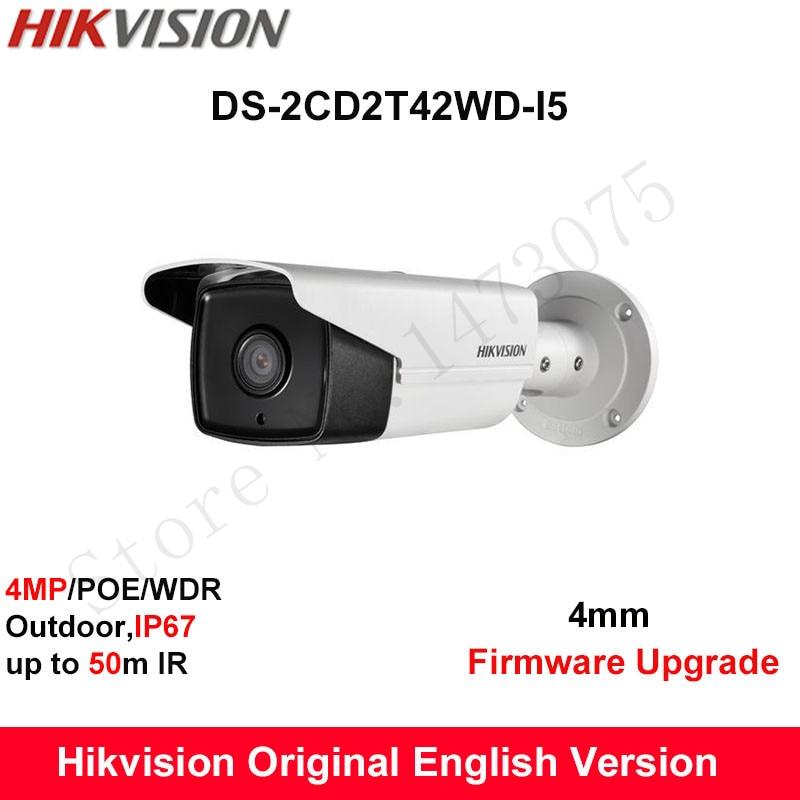 In Stock Hikvision Original English Security Camera DS-2CD2T42WD-I5 4MP EXIR IR Bullet IP Camera WDR POE IP67 50m IR CCTV Camera