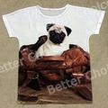 Track Ship+New Vintage Retro T-shirt Top Tee Cut Big Eyes Pug Dog Sitting in Pu Bag Gift House 0478