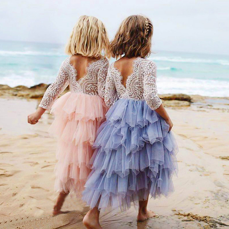 Girls Princess Dresses Lace Flower Tiered Tulle Maxi Dress Long Sleeve Wedding Party Children Clothes wholesale kids clothing