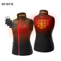 ORORO женский жилет отапливаемый с 4 зоны подогревом на 3 режима батарея Зимняя куртка ватник куртка пуховик шерстяная теплая модный черный ле