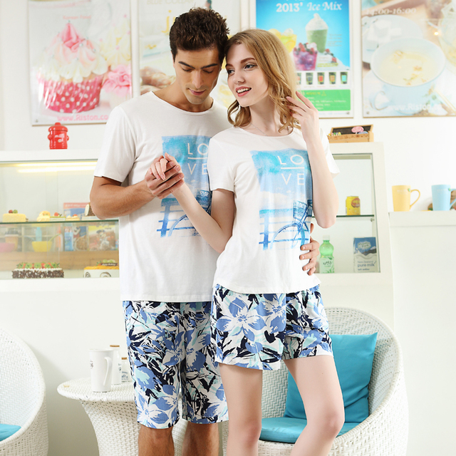 New Summer Short Sleeve Lovers Pajamas Men & Women Sleepwear Cartoon Leisure Home Wear Couple Pajamas Sets