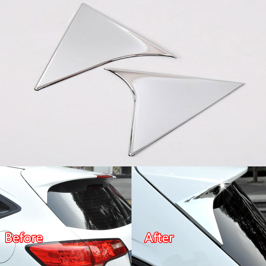 YAQUICKA For <font><b>Honda</b></font> Vezel <font><b>HRV</b></font> HR-V 2015 Car Rear Window Triangle Decoration <font><b>Trim</b></font> Sequins Car-styling Chromium Mouldings ABS 2PC image