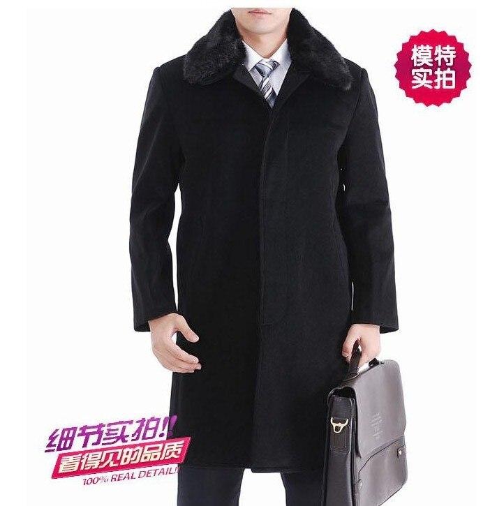 e89a53d90 Casacos longos casaco tamanho peacoat comercial de inverno de lã cashmere  casuais espessamento gola de pele quente jaqueta para os homens