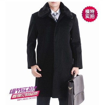 Long coats overcoat size peacoat commercial winter sheep casual cashmere woolen jacket for the men's warm fur collar thickening