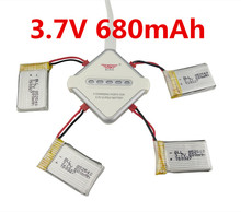 4PCS 3.7V 1000mah battery and 4 in 1 balanced charger for FY550 huaJun HJ818 HJ819 1315 remote control helicopter battery