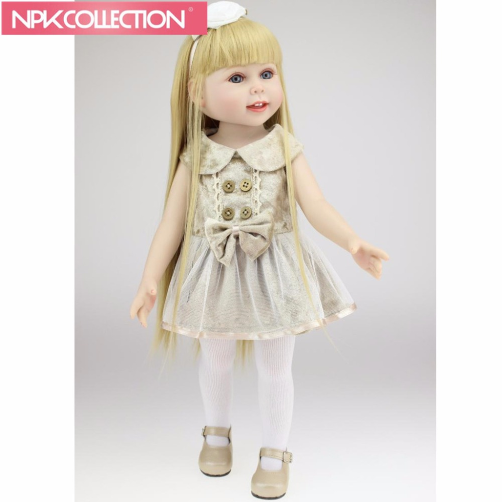 American 18 Girl Doll Full Vinyl Fashion Baby Toy Realistic Baby Alive Doll Handmade Baby Toys American Girl Toys N380-2 [mmmaww] christmas costume clothes for 18 45cm american girl doll santa sets with hat for alexander doll baby girl gift toy