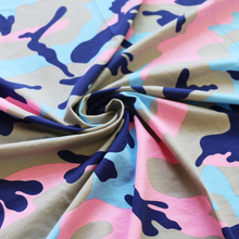 babc9e130ce Camo Stretch Cotton Knit Fabric For Tshirt Pink Camouflage Jersey  1y*170cm(China)