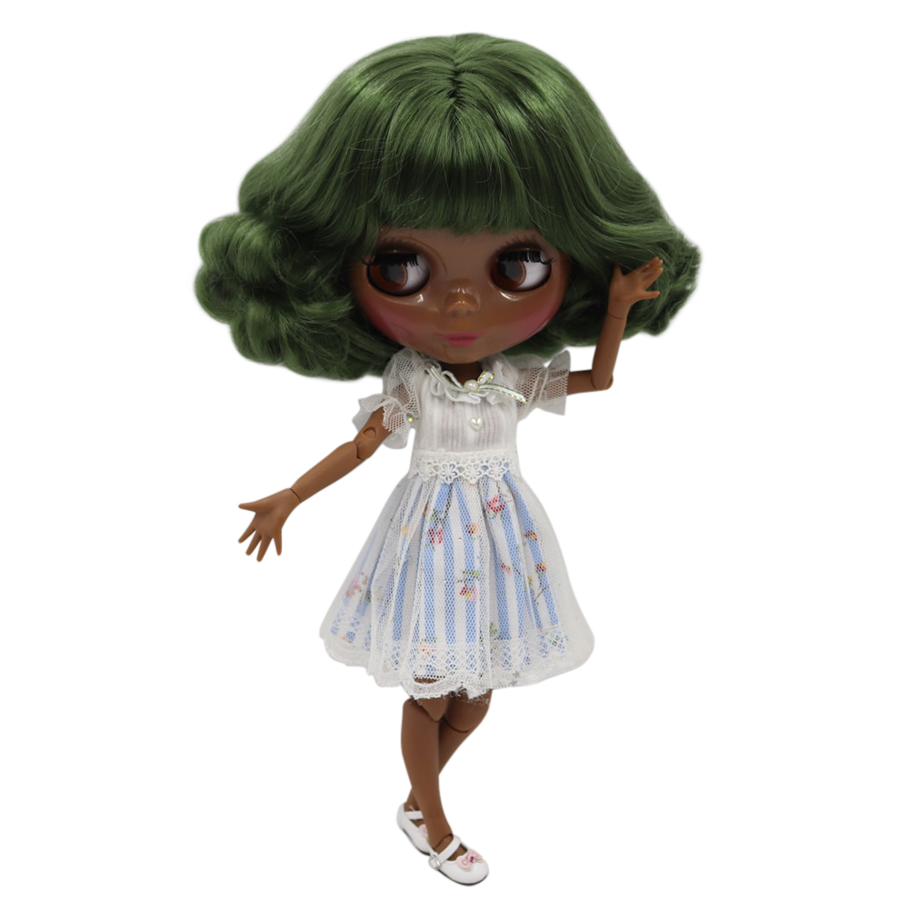 ICY Fortune Days factory blyth doll NO BL4299 nude doll with super dark skin green curly