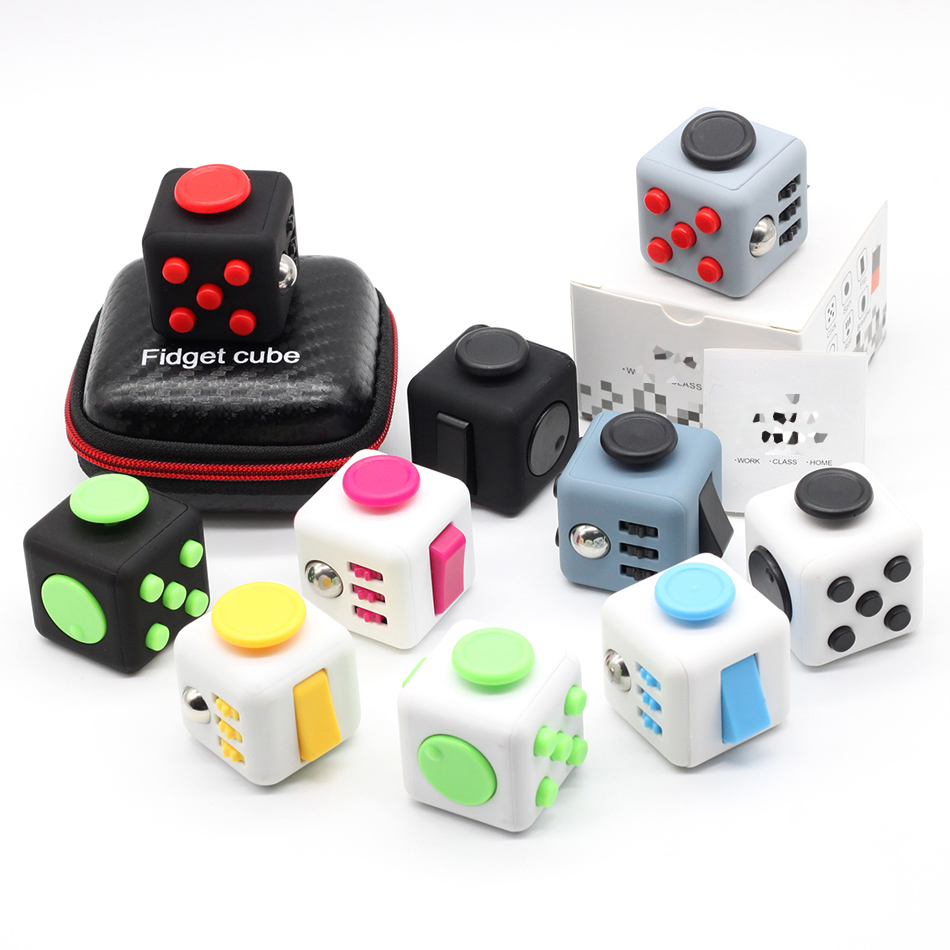 все цены на Fidget Cube Toys Squeeze Fun Stress Reliever Fidget Toys Puzzle Magic Cube Toys Stress Cube Come With Box Stress Wheel