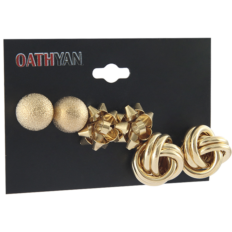 US $1.19 20% OFF|OATHYAN 3 Pairs/set Punk Style Women's Round Ball Gold Earrings Set Mix Female Flower Large Stud Earring Simple Jewelry Brincos-in Stud Earrings from Jewelry & Accessories on Aliexpress.com | Alibaba Group