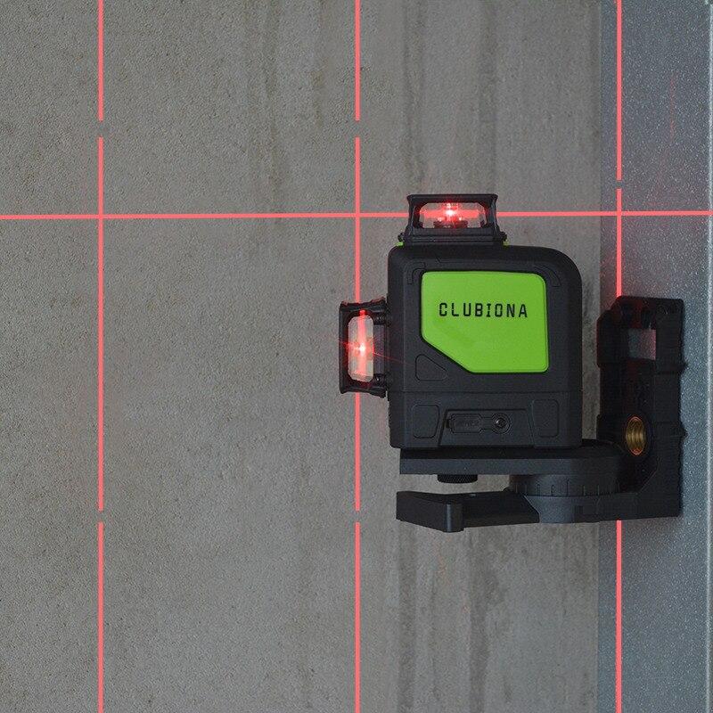 Clubiona 3D 12RC 12 líneas de nivel láser con batería de 5200 mah y Horizontal y Vertical de las líneas de trabajo por separado láser rojo haz las líneas - 6