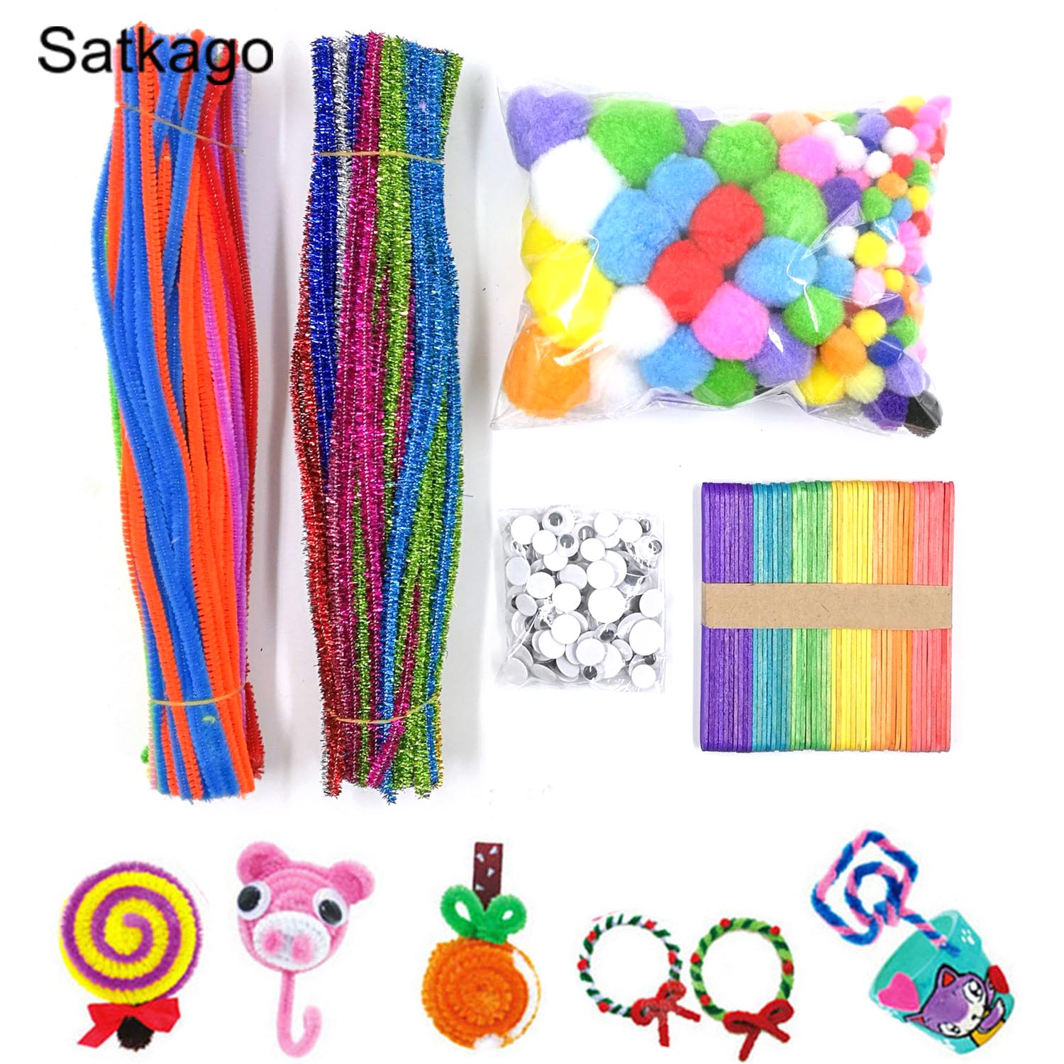 600pcs Pipe Cleaners Set Including Chenille Stems Wiggle Googly Eyes Pom Poms Craft Sticks For Kids DIY Craft Supplies