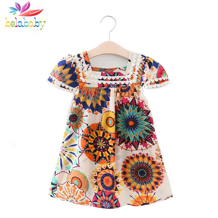 Belababy Girl Dress Brand Fashion 2017 Boho Beach Dress Kids Casual Floral Dress Layered Petal Sleeve Folk Girls Clothing