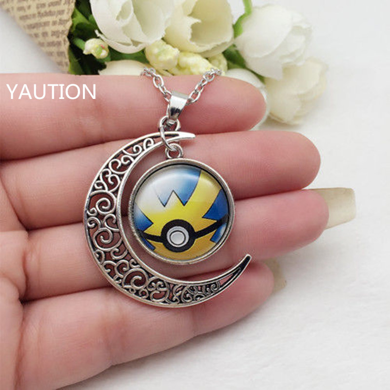1Pcs Tibetan Silver font b Anime b font Pokemon Pokeball Glass Hollow Moon Shape Pendant Necklace